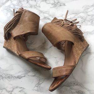 Rampage Wollie Fringe tan wedge sandals